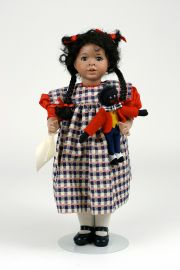 Gracie and Her Golliwogg - limited edition porcelain collectible doll  by doll artist Wendy Lawton.
