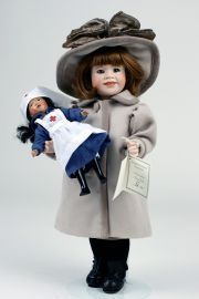 Nola and Her Nurse - limited edition porcelain collectible doll  by doll artist Wendy Lawton.