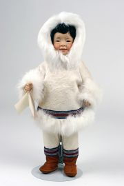 Nalauqataq - limited edition porcelain collectible doll  by doll artist Wendy Lawton.