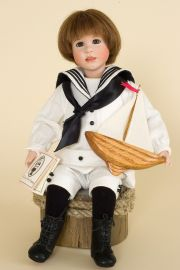 My Ship and I - limited edition porcelain and wood collectible doll  by doll artist Wendy Lawton.