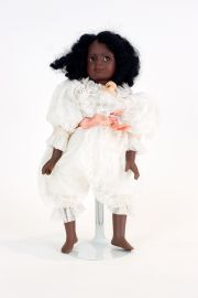 Black Bean Bag Doll DA11 - collectible one of a kind porcelain art doll by doll artist Edna Dali.