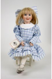 Picture Books in Winter  - limited edition porcelain and wood collectible doll  by doll artist Wendy Lawton.