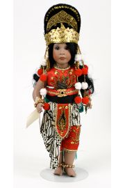 Topeng Klana - limited edition porcelain and wood collectible doll  by doll artist Wendy Lawton.