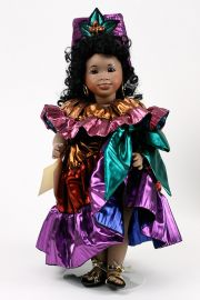Carnival Brazil - limited edition porcelain and wood collectible doll  by doll artist Wendy Lawton.