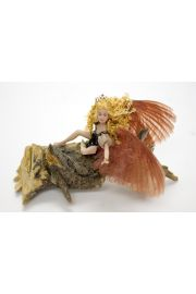 Mauve Winged Muse - collectible one of a kind porcelain art doll by doll artist Michelle Robison.