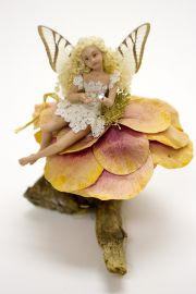 Blonde Fairy on Rose no.003 - collectible one of a kind porcelain art doll by doll artist Michelle Robison.