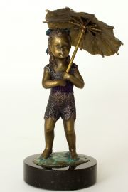Summer Rain - collectible limited edition bronze figurine by doll artist Karen Williams Smith.