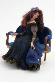 Lady on Settee - collectible one of a kind porcelain art doll by doll artist Michelle Robison.