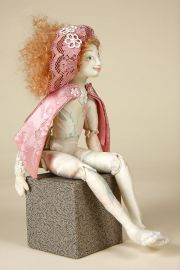 Pink Lady - collectible one of a kind cloth art doll by doll artist Jane Darin.