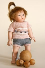 Ulla - collectible limited edition porcelain soft body art doll by doll artist Wiltrud Stein.