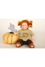 Lotti - collectible limited edition porcelain soft body art doll by doll artist Wiltrud Stein.