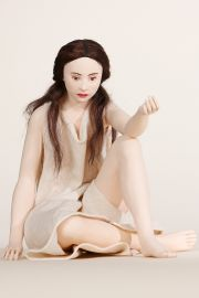 Sitting Girl - collectible one of a kind paperclay art doll by doll artist Emily Owen.