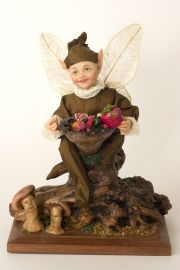 Woodland Elf - collectible limited edition polymer clay art doll by doll artist Linda Kertzman.