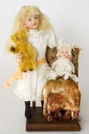 Elaine - collectible one of a kind polymer clay art doll by doll artist Linda Kertzman.