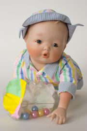 Todd - limited edition porcelain soft body collectible doll  by doll artist Yolanda Bello.