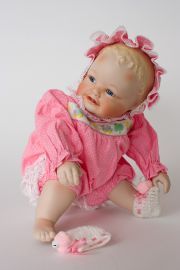Lindsey - limited edition porcelain soft body collectible doll  by doll artist Yolanda Bello.