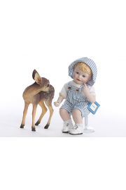 Andy with Faun - limited edition porcelain soft body collectible doll  by doll artist Yolanda Bello.
