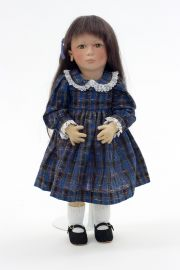 Katrina - collectible limited edition felt molded art doll by doll artist Maggie Iacono.
