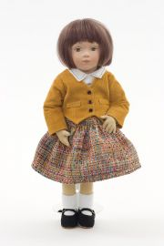 Sadie - collectible limited edition felt molded art doll by doll artist Maggie Iacono.