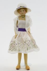 Gwyneth - collectible limited edition felt molded art doll by doll artist Maggie Iacono.
