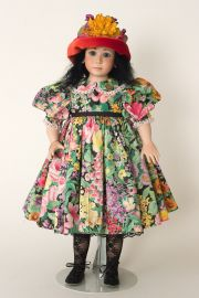 Winnie - collectible one of a kind porcelain soft body art doll by doll artist Julia Rueger.