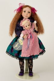 Little Sister - collectible limited edition porcelain soft body art doll by doll artist Julia Rueger.