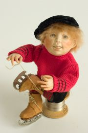 Puttin' on Skates no.106 - collectible one of a kind resin art doll by doll artist Hal Payne.