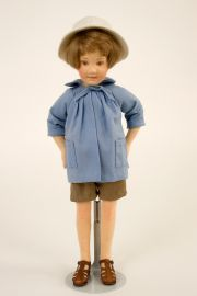 Pocket Christopher Robin - collectible limited edition felt molded miniature doll by doll artist R John Wright.