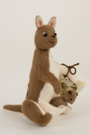Pocket Kanga and Roo - collectible limited edition felt molded miniature doll by doll artist R John Wright.