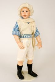 Stormey - collectible limited edition porcelain wax over art doll by doll artist Susan Krey.