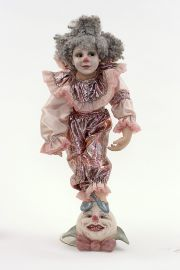 Hy Jinx - collectible limited edition cultured glass art doll by doll artist Pat Thompson.