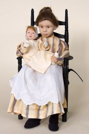 Mother and Child - collectible one of a kind cloth art doll by doll artist Kate Lackman.