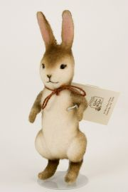 Pocket Rabbit - collectible limited edition felt molded miniature doll by doll artist R John Wright.