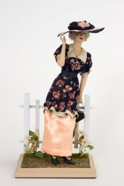 A Breezy Day 1915 - collectible one of a kind porcelain direct sculpted art doll by doll artist Maria Ahren.