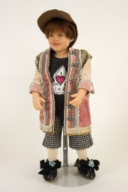 Luis - collectible one of a kind polymer clay art doll by doll artist Rotraut Schrott.