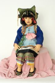 Suu - collectible one of a kind polymer clay art doll by doll artist Rotraut Schrott.