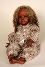 Marida - collectible limited edition porcelain soft body art doll by doll artist Pauline Middleton.