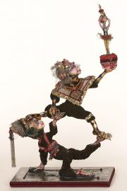 Balance - collectible one of a kind polymer clay art doll by doll artist Marilyn Radzat.