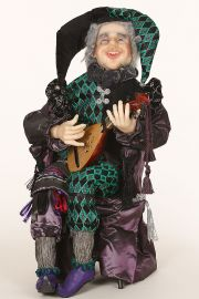 Court Jester - collectible one of a kind polymer clay art doll by doll artist June Brown.