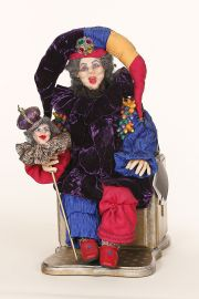 King of Fools - collectible one of a kind polymer clay art doll by doll artist June Brown.