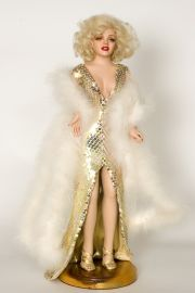 Totally Blonde Marilyn Monroe - collectible limited edition porcelain soft body art doll by doll artist Marilyn Houchen.