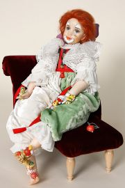Teddy Clown Inget - collectible one of a kind polymer clay art doll by doll artist Karin Schmeling.
