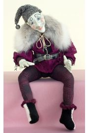 Sitting Jester - collectible limited edition resin art doll by doll artist Kathryn Walmsley.