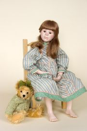 Kate with Chair - collectible limited edition porcelain art doll by doll artist Beth Cameron.