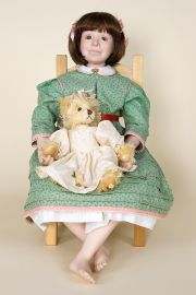 Rackel with Chair - collectible limited edition porcelain art doll by doll artist Beth Cameron.