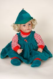 Christmas Elf - collectible limited edition vinyl play doll by doll artist Johanna Zook.