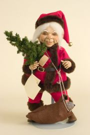 Jolly Old Elf Santa - limited edition resin collectible doll  by doll artist Faith Wick.