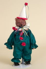 Clown Bear (Musical) - limited edition porcelain collectible doll  by doll artist Faith Wick.