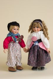 Hansel and Gretel Set - limited edition porcelain collectible doll  by doll artist Faith Wick.