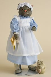 Nanny Cat with Mouse - limited edition resin collectible doll  by doll artist Faith Wick.